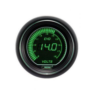 Manomètre Digital Pro-Sport Voltmètre 52mm 8 à 18Volts Vert/Blanc